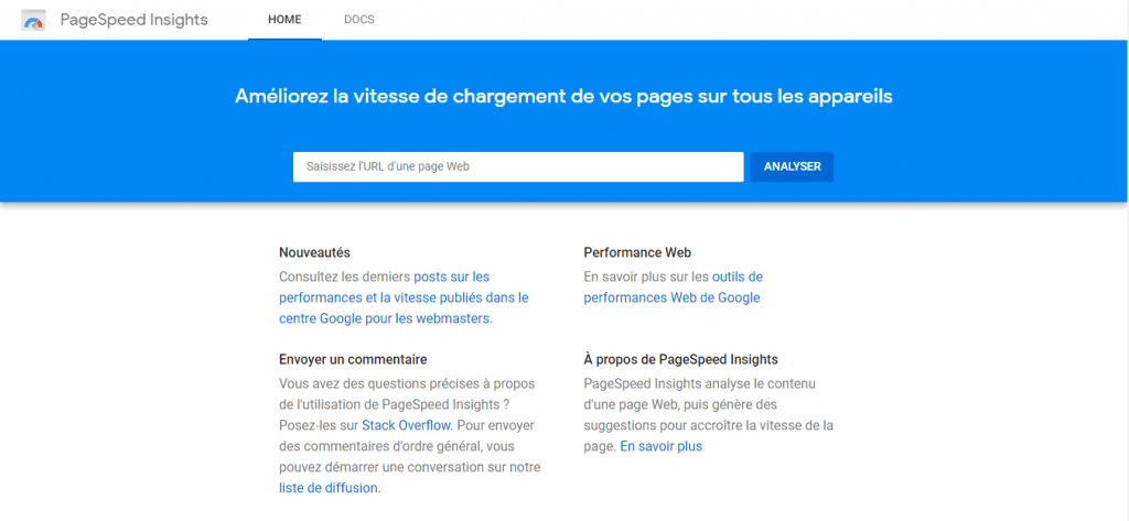 Page d'accueil Google Page Speed Insights